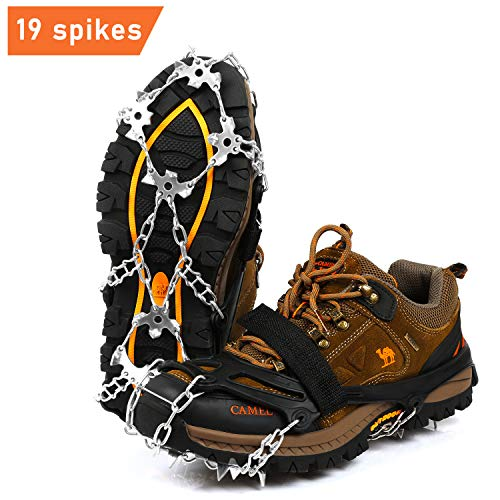 BIFY Steigeisen mit 19 Edelstahl Zähne schuhkrallen,Wahre Edelstahl Spikes Schuhspikes,Schneekette,Spikes für Winter Walking Wandern Bergsteigen.