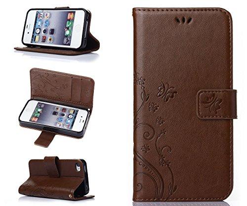 ZeWoo Folio Ledertasche - R152 / Schmetterling und Blume (grau) - für Apple iPhone 4 4G 4S (3.5 Zoll) PU Leder Tasche Brieftasche Case Cover R153 / Schmetterling und Blume (braun)