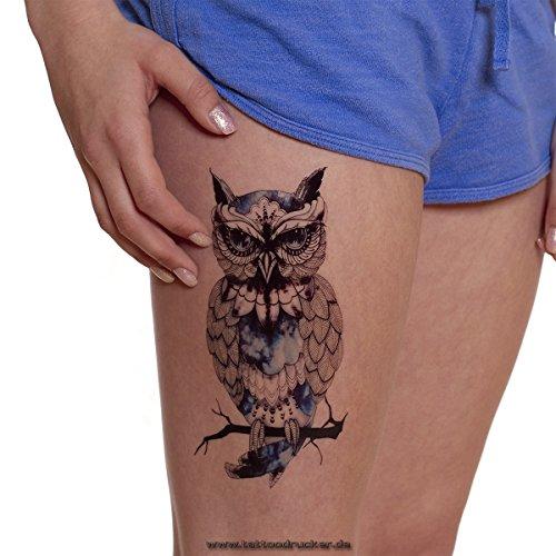 Tattoodrucker 1 x Eule auf AST in Schwarz/Blau - Fake Temporäres einmal Körpertattoo A1209 (1)