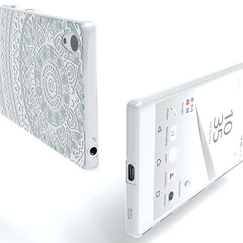 "EAZY CASE Handyhülle für Sony Xperia Z5 Hülle - Premium Handy Schutzhülle Slimcover ""Brushed"" Aluminium Design - TPU Silikon Backcover in brushed Rosa Henna Weiß / Türkis"