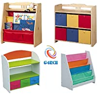 G4RCE® Childrens/Kids Multi Use Toys Cabinet Storage Bookcase Organizer Rack Unit Shelf Canvas Drawers For Kids Toys Tidy Bedroom/Playroom (Toy Storage Rack 1)