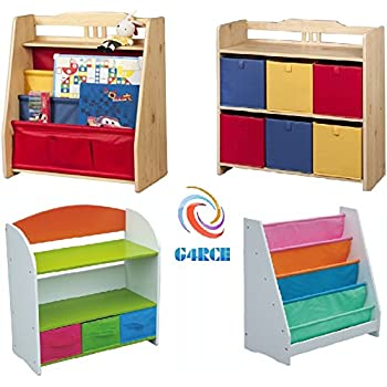 G4RCE Childrens/Kids Multi Use Toys Cabinet Storage Bookcase Organizer Rack  Unit Shelf Canvas Drawers Kids Toys Tidy Bedroom/Playroom (Book Shelf 2)