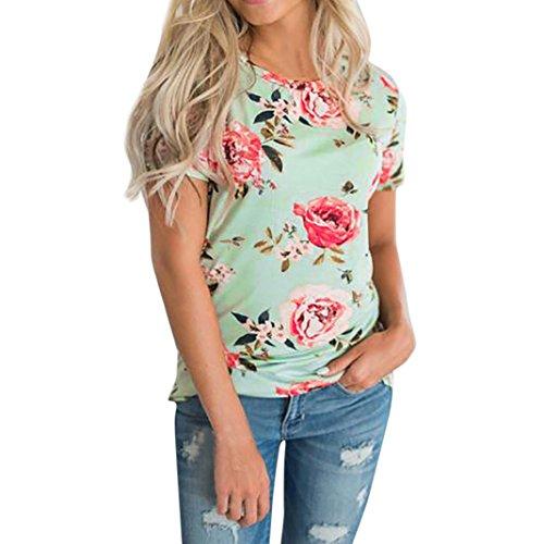 MCYs Damen Roundhals Blumen Druck Lose Kurzarm Casual T-Shirt Tops Bluse Sommer Beiläufige Oberteil T-Shirt Hemd (S, Grün) (Mit Perlen Seiden-camisole)