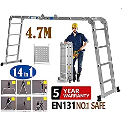 4.7m Heavy Duty Multi-Purpose Extendable Ladder with Safety Locking Hinges Folding Combination Ladder with 1 Safety Tool Tray Manufactured to EN131 Part 1 and 2 Specifications