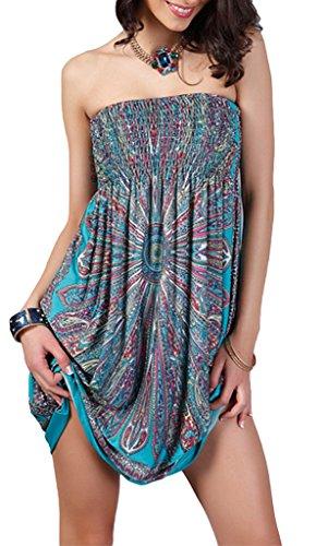 COMVIP Damen Bustier Sommerkleid Minikleid Strandkleid Party Kleid Mit Blume Druck Grün