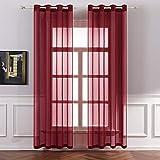 MIULEE Tende 2 Pannelli Trasparenti in Voile con Occhielli Morbidi Finestre per Camera da Letto e Soggiorno 140x225cm Rosso