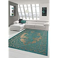 Traum Contemporary rug Design rug Oriental rug Living room rug with border in turquoise beige size 135x200 cm