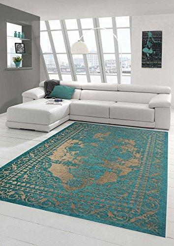 Traum tappeto progettista tappeto moderno tappeto orientale tappeto da salotto con bordo in beige turchese größe 135x200 cm