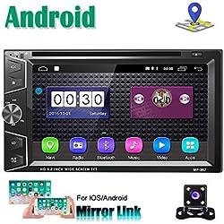 Autoradio Android Lecteur de CD DVD Navigation 2Din Stéréo Camecho 6,2 Pouces Écran Tactile Bluetooth WiFi FM Récepteur Téléphone Lien Lien avec Double USB + caméra de recul