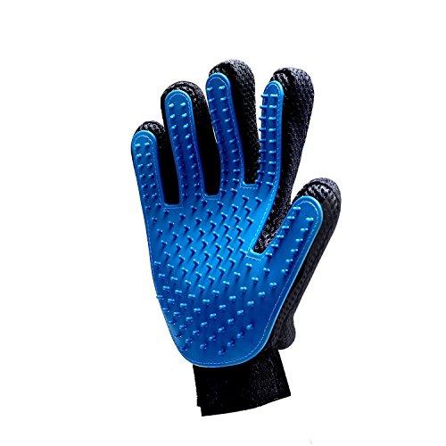 ZHOUZEKAI Gant de toilettage pour Animaux de Compagnie - Gant de brossage Doux Gant de Brosse -Outil Efficace pour enlever Les Poils tombés d'Animaux(1 Droite) Bleu