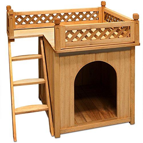 Hundehütte Hundehaus Katzenhaus Hundehöhle Tierhaus Hund Holz Box Garten Sonnenterasse - 4