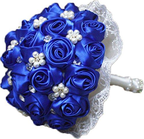 Engerla Perla Encaje Boda Ramo Broche Handmade Diamond Bride Holding Flores, Mujer, color azul, tamaño Talla única