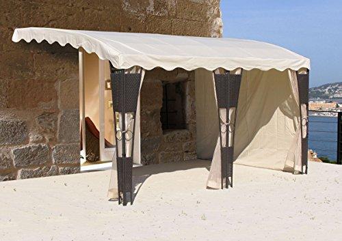 3 Seitenteile Anbaupergola Mallorca Rattan Sand