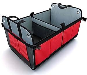 Grande contenitore portaoggetti auto multitasche per bagagliaio (pieghevole) - Molto robusto con supporto per prevenirne la chiusura e lo sfondamento.
