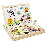 Lance Magnetisches Spielzeug Magnet Doodle aus Holz Zeichnung Maltafel für Kinder ab 3 Jahren (A)