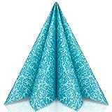 GRUBly Serviettes en Papier Motifs Turquoise | Identique au Tissu | Parfaite déco de Table Anniversaire, Serviette Papier Mariage, dîner, BBQ | QUALITÉ AIRLAID | 40 x 40cm | Pack de 50
