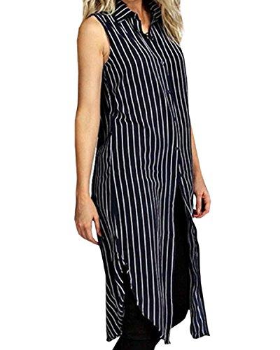 StyleDome Women's Casual Stripe Chiffon V Neck Sleeveless Button Maxi Long Tops