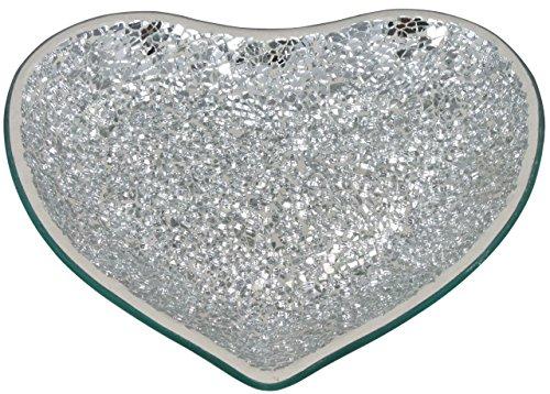 Silver Mosaic Heart Shape Plate Candle Holder - Stylish Home Decor