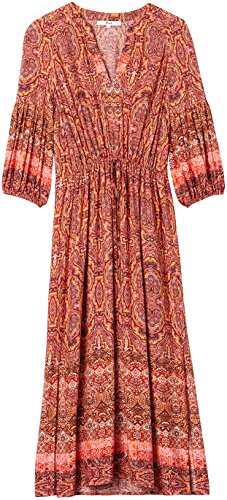 FIND Damen Midikleid, Mehrfarbig (Orange Mix), Small