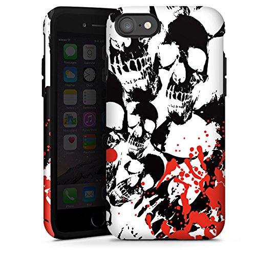 Apple iPhone X Silikon Hülle Case Schutzhülle Skull Blood Totenköpfe Tough Case glänzend