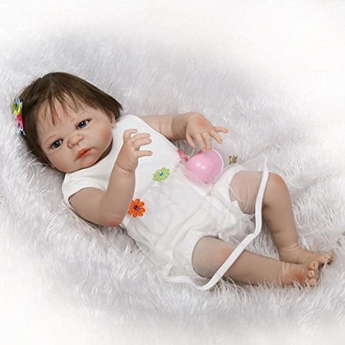 Pinky Silicone 57cm 23 Inch Full Body Baby Girl Soft Vinyl So Realistic Looking Baby Girl Lifelike Reborn Baby Dolls Toddlers Magnetic Mouth Dummy