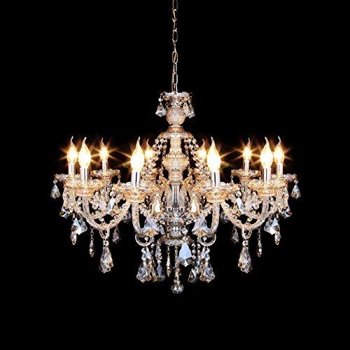 LLF Europäische Kerze Kristall Kronleuchter 10 Lampen Beleuchtung für Villa Flur Schlafzimmer Wohnzimmer, Cognac Farbe (Color : Cognac Color, Size : 15 Bulbs) -
