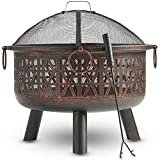 VonHaus Geo Fire Pit Bowl with Spark Guard & Poker - Outdoor Black Steel Garden Patio Heater/Burner for Wood & Charcoal