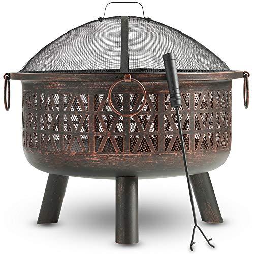 VonHaus Feuerkorb/Feuerschale mit geometrischem Design aus dekorativem schwarzem Stahl mit Funkenschutz und Schürhaken - Kohlebecken & Terrassenofen