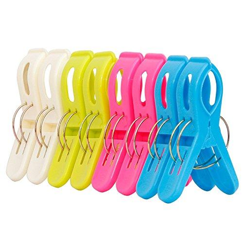 Ipow® 8 Stück große Wäscheklammern Kunststoff Clips Quilt Clips für tägliche Wäsche, großes Strandtuch, schwere Badetuch, dicke Teppich etc.