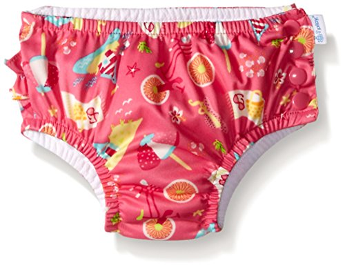 i play. Baby Girls' Ruffle Snap Reusable Swim Diaper, Hot Pink Cabana, 18 Months