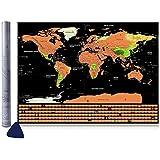 Vitutech Carte du monde Carte du monde à gratter Carte à Gratter Scratch le monde Scrape off World Map - Grattez les endroits que vous avez visité 82.5 X 59.3 CM