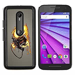 Omega Covers - Snap on Hard Back Case Cover Shell FOR MOTOROLA MOTO G3 ( 3ND GEN. ) - Flamethrower Skeleton Warrior