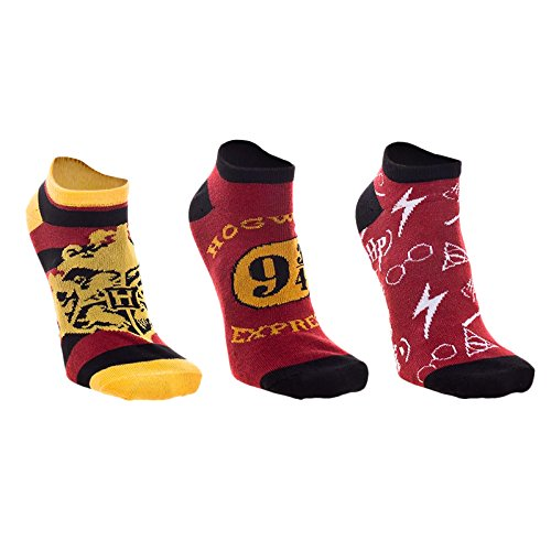 Meroncourt Women's Harry Potter Ankle Hogwarts Slipper Socks, 100 Den, Red, 4-7 (Manufacturer Size: 39/42)