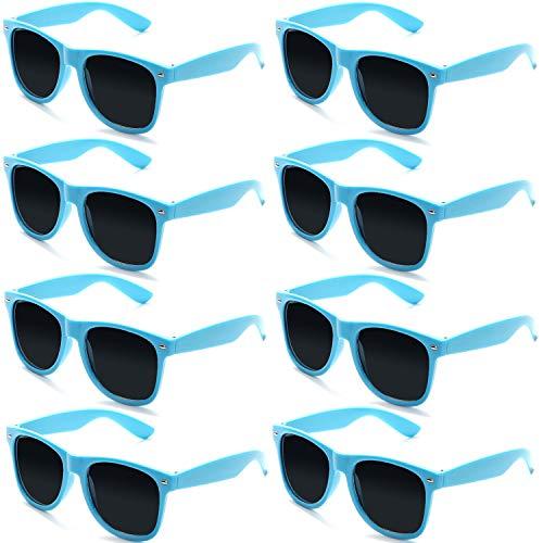 FSMILING Neon Farben Party Gefälligkeiten Herzform Sonnenbrille Set für Kinder Erwachsene (8 Stück Blau)