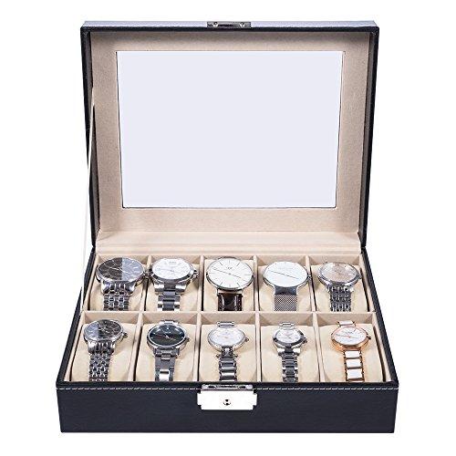 MelodySusie® wunderschöne Uhrenbox für 10 Uhren Uhrenkasten Schwarz PU-Leder mit Glasfenster und Schlüssel (Schwarz-leder Wunderschöne)