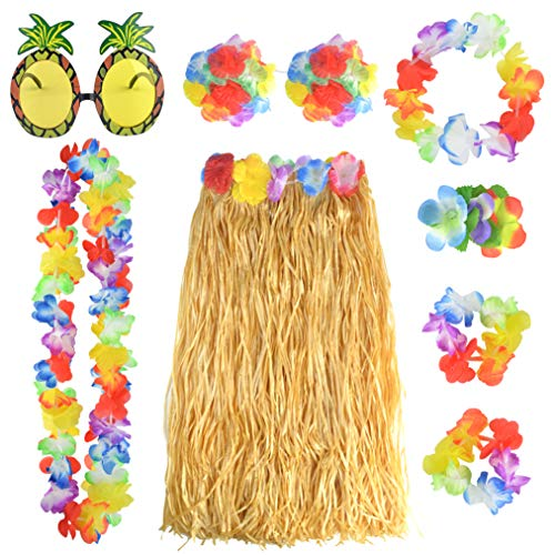 Stirnband Blume Kostüm - baotongle 8 Stück Hawaii Party Kostüm Set mit Halskette Armbänder Stirnband Blume BH Haarblume und Ananas Sonnenbrille für Beachparty Deko
