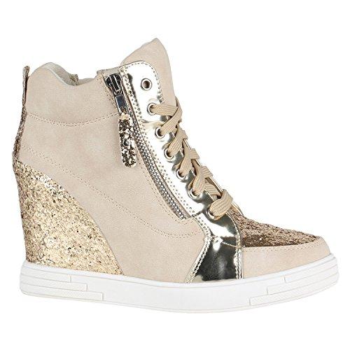 Sportliche Damen Basic Sneaker-Wedges Bequeme Sneakers Keilabsatz Schuhe 144430 Creme Lack Glitzer 39 EU Flandell