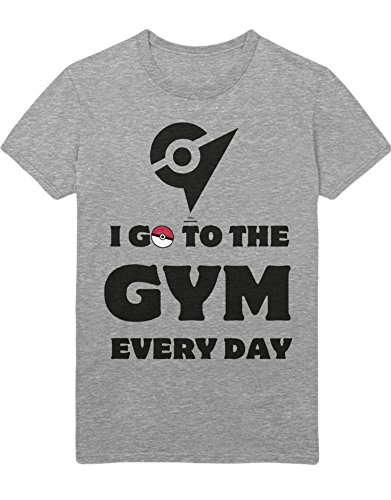T-Shirt Poke I Go to The Gym Every Day Leader Kanto 1996 Blue Version Pokeball Catch 'Em All Hype X Y Blue Red Yellow Plus Hype Nerd Game C980115 Grau XL