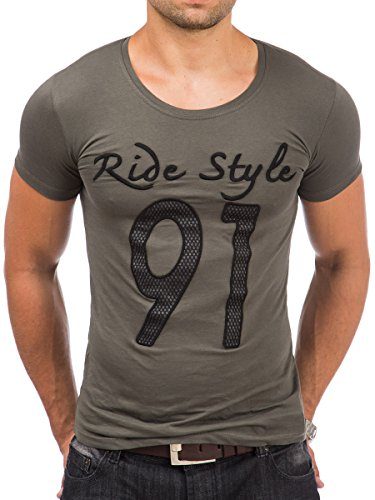 T-Shirt Shirt Herren Tazzio Rundhalsausschnitt kurzarm Prints Look Khaki