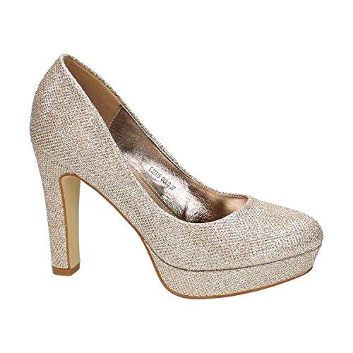 King Of Shoes Klassische Damen Glitzer Pumps Stilettos High Heels Plateau Abend Schuhe Bequem 315 (38, Gold)