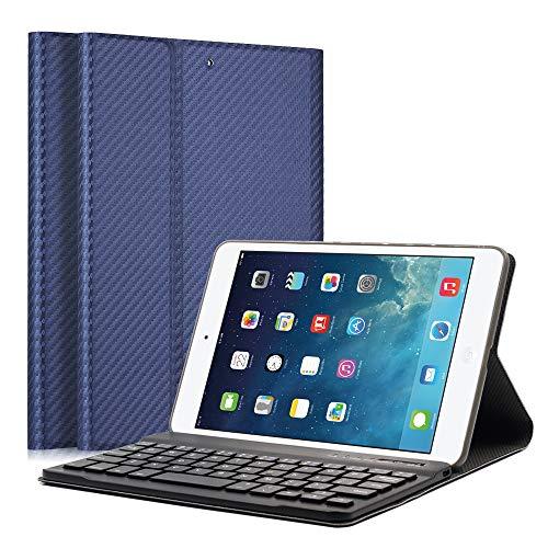 2/3 Bluetooth Tastatur Hülle Keyboard Case Ultradünn leicht SmartShell Ständer Schutzhülle mit magnetisch Abnehmbarer drahtloser Deutscher Bluetooth Tastatur for iPad Mini ()