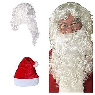 Tamaño adulto Set peluca y barba blanca Santa Pelucas sintéticas onduladas cortas Barba larga y rizada Profesional de alta calidad Santa Claus Papá Noel Peluca para disfraces