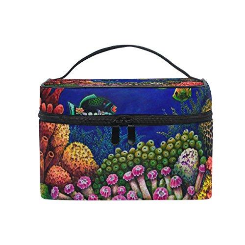 ALAZA Poissons Sac cosmétiques et de coraux colorés Maquillage Voyage cas de stockage Organisateur