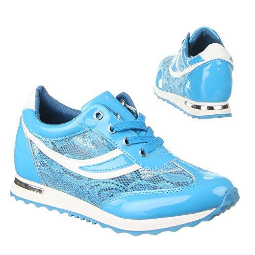 Damen Schuhe FREIZEITSCHUHE SCHNÜRER TURNSCHUHE SNEAKERS Farben: Schwarz Blau Weiß Größen: 36 37 38 39 40 41 Blau