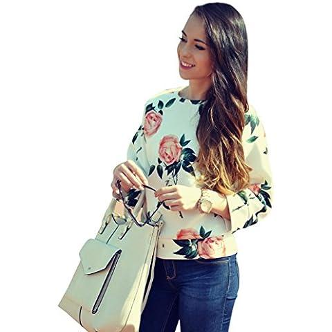 FEITONG Para mujer de la flor de la impresión floral Manga larga Algodón floja Sudadera Pullover remata la blusa