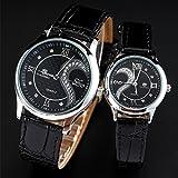 DREAMING Q&P Unisex Analog Quarz Paar Uhr mit Leder Armband Schwarz MW102B