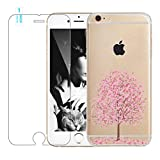 "iPhone 6S Plus 5.5"" Case with Free Tempered Glass Screen Protector Film, Bestsky Pretty Cherry Blossoms Series Soft Clear TPU Cover Ultra Thin Jelly Protective Case for Apple iPhone 6 Plus (5.5 inch) - Pink Blooms Tree"
