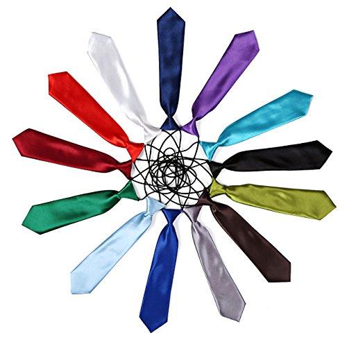 DonDon Cravate enfant brillante effet soie élastique Vert