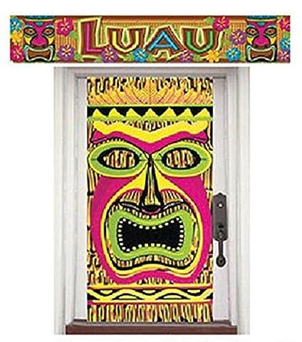 Karnevalsbud - Party Dekoration Hawaii Tiki Aloha Motto Banner Poster Hula Folie Set, Mehrfarbig