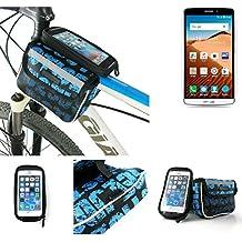 Bolso Bolsa Funda Bicicleta para TP-LINK Neffos C5 Max, Funda Móvil soporte tubo Bici, azul, Impermeable Resistente al Agua - K-S-Trade(TM)